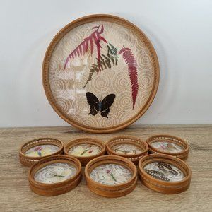 1970s Bamboo Pressed Butterfly Coaster Drink Tray Set Boho